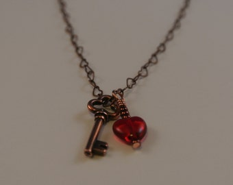 Key to my Heart - Romantic Copper Necklace