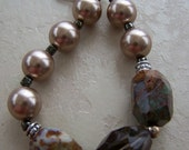 Pearl Babies Collection: Taupe Swarovski pearls, smokey quartz and Oregon jasper bracelet