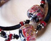 Lampwork beads, crystals, memory wire bracelet
