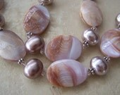 Harlow: Soft Pink Shell Pearls, Sea Shells and Swarovski Crystals necklace