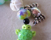 Beachin' - Lampwork beads and pewter bracelet