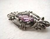 Silver Amethyst Focal Piece - brooch, pendant, purple, filigree, vintage, victorian, art deco, retro