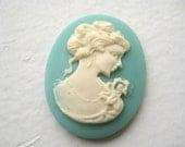 Light Blue Cameo Cabochon - 40x30, woman, plastic, acrylic