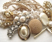 Pearl Rhinestone Vintage Jewelry Lot - salvage, upcycle, parts, repair, destash, rhinestone, pearl, gold, white, ivory, clear