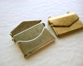 Love Letter Envelope Charms - english, french, silver, brass, i love you