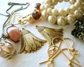 Jewelry Lot - jewelry parts, destash, findings, stampings, gold, pearls, vintage jewelry, rhinestones, ear wires
