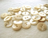 Vintage Mother of Pearl Buttons, 1960s, ivory, cream, two hole