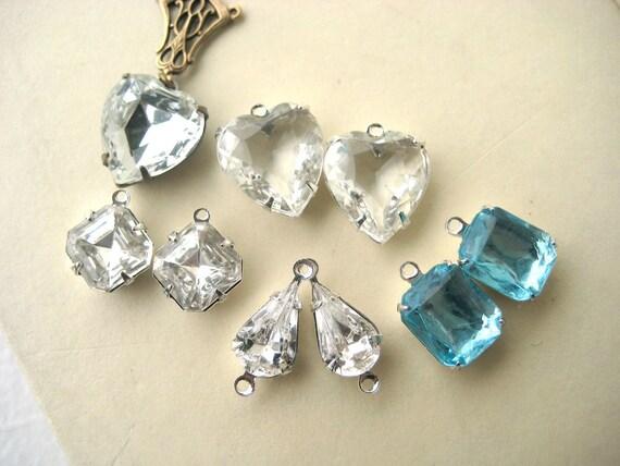Vintage Rhinestone Lot - rhinestone link, rhinestone drop, clear, white, blue, multi pack, destash, jewelry supplies, jewelry parts, upcycle