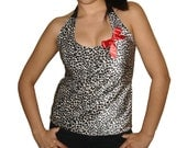 Custom Altered Diy Leopard Print With Red Bow Pin Halter Top