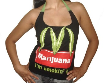 Marijuana McDonalds Funny Parody Im Smokin It Ladies Custom Made DIY Halter Top