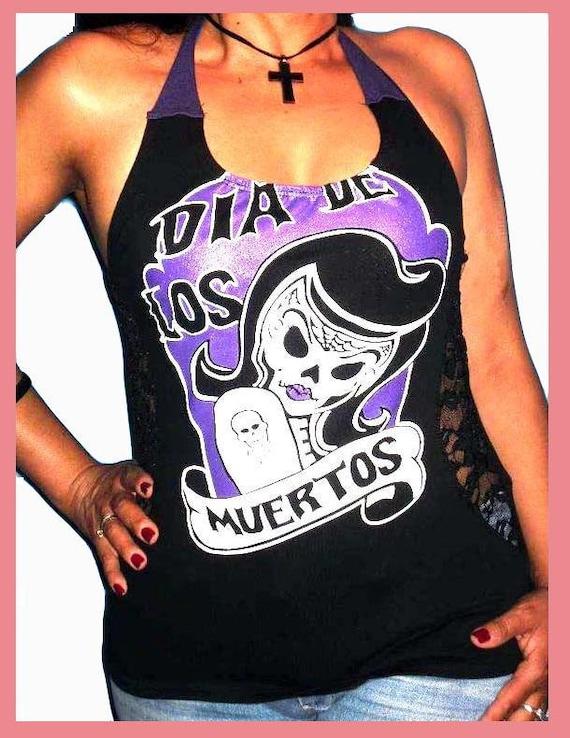 Day Of The Dead / Dia De Los Muertos Womens Custom Altered Diy Halter Top