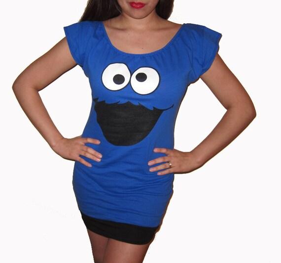 Sesame Street Cookie Monster Custom DIY Sexy Scoop Mini Dress Top