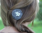 SALE Gray Bobby Pin with Pearls and Crystals