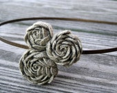 Linen Jute Rose Headband  for Women