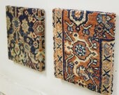 2 Antique Persian Rug Squares - Textile Art Piece