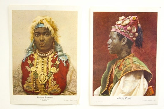 African Prince and Princess Vintage Lithographs