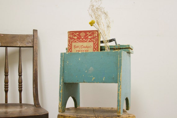 Chippy Turquoise Shoe Shine Box Stool With Brushes