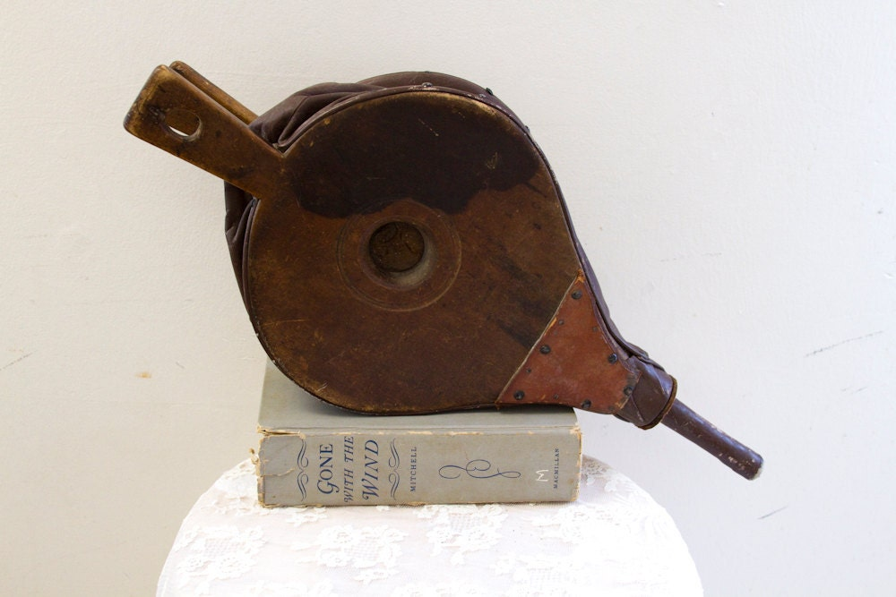 Wood And Leather Vintage Fireplace Bellows