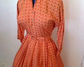 Sophisticated Rayon 1940s Salmon Colored Novelty Print Dress-S