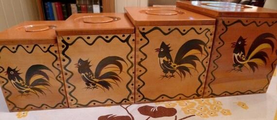 MID-CENTURY KITCHEN--Gorgeous 1950s Wooden Flour Sugar Cannister Complete Set
