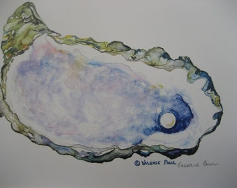 Mussel Shell Watercolor Print