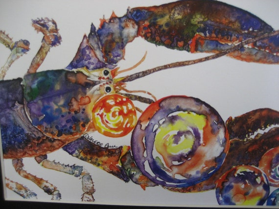 Maine Lobster Watercolor Print with Bubbles 8x10