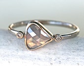 Diamond Engagement Ring - Rose Cut Diamond Slice - 14K White Palladium Gold