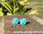 LAST PAIR// SALE // Rose Post Earrings-Truly Teal