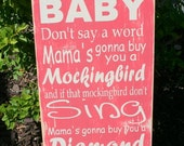 Hush little baby lullaby hand painted wood sign