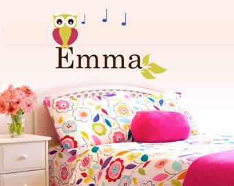 Children Wall decal Baby Owl on Branch with Name wall decal