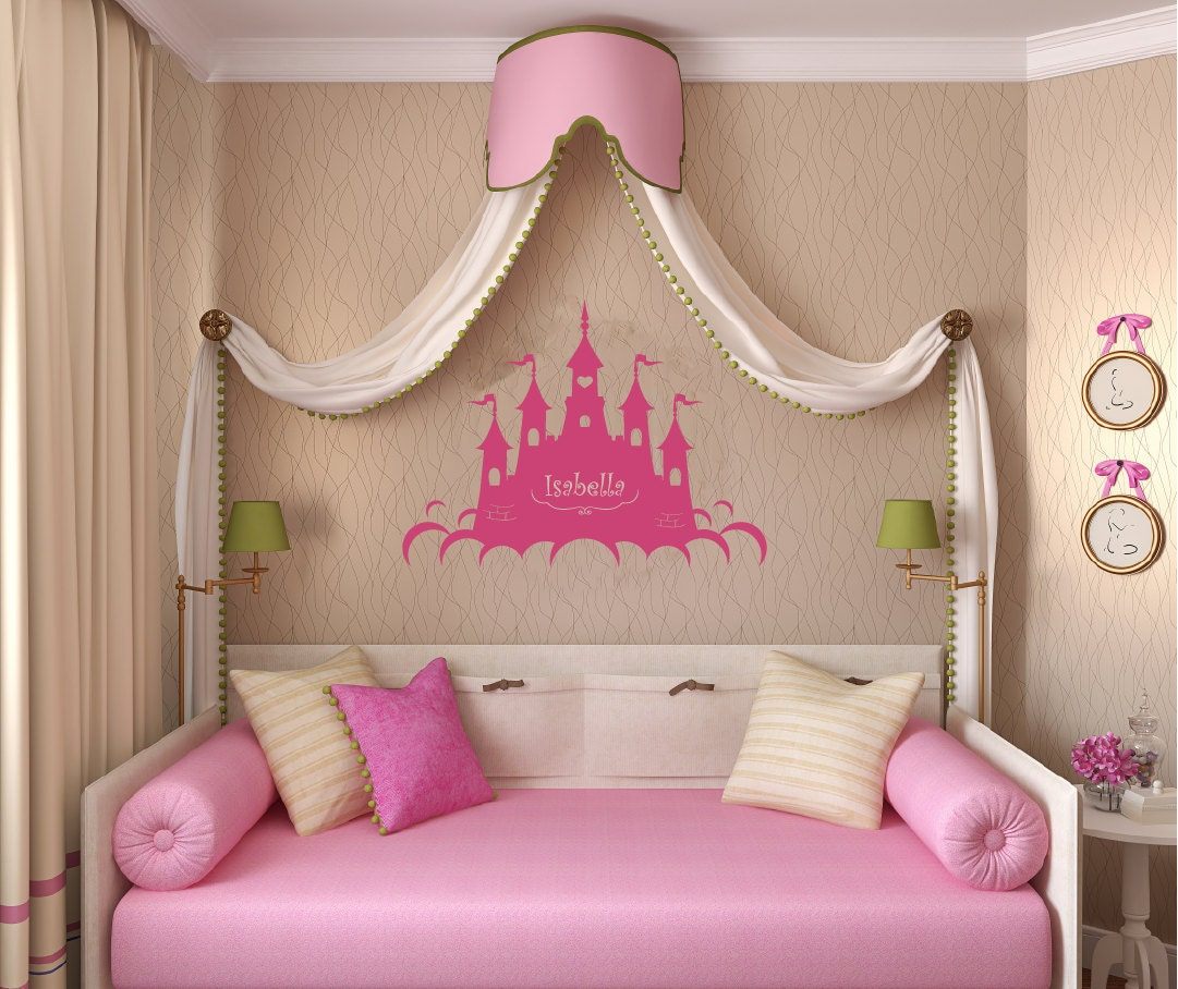 Children wall decal wall sticker decals princess castle with for Castle wall mural sticker