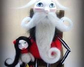 Custom Art Doll - Whimsical Goth Santa - OOAK Cloth Doll - Goth Santa
