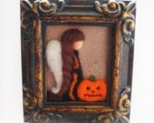 Halloween Angel -  Halloween Decor - Halloween Felted - Needle Felted Angel