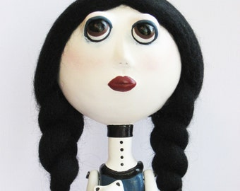 Goth Art Doll - Stripes, Blue Dress, OOAK, White Teddy Bear, Clay sculpted