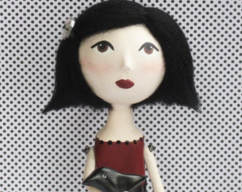 Custom Art Doll - OOAK Gothic Art Doll- Paper Clay Sculpted