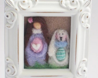 Easter Decor - Easter Bunny - Easter Eggs - Felted Easter Bunny