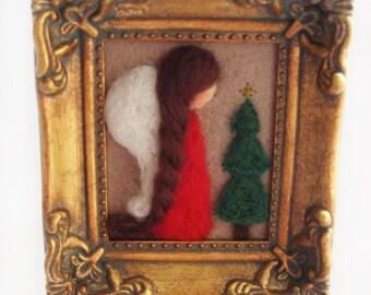Christmas Decor - Christmas Angel - Felted Angel- Whimsical Angel