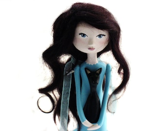 Custom Art Doll - Girl and Cat - Aqua Color