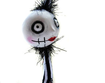 Goth Art Doll- Halloween Doll - Cloth striped Doll - Made To Order