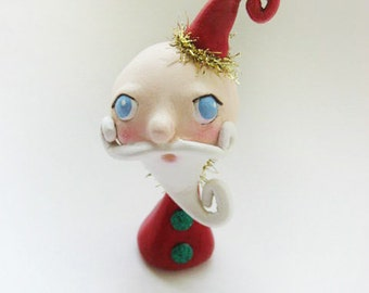 Whimsical Santa  -  Miniature Santa Doll - Paper Clay Sculpted - Christmas Santa - Made to Order