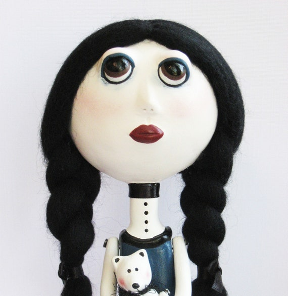 Goth Art Doll - Stripes, Blue Dress, OOAK, White Teddy Bear, Clay sculpted