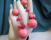 Vintage Pink Gumball Dangle Floral Earrings 1970s Hong Kong