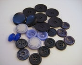 Plastic Buttons Blue Mixed Lot