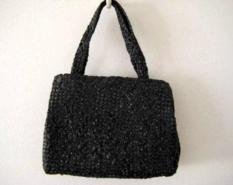 Vintage Black Purse 1950s Walborg Woven Raffia Straw