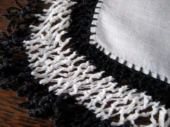 Vintage Linen Handkerchief Black & White Crochet Trim