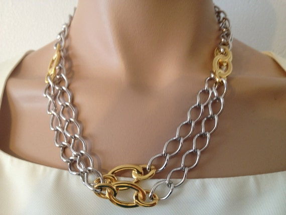 Silver & Gold Chain Vintage Monet