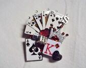 Swarovski crystal cards games dice gambling brooch pin mixed media hand crafted