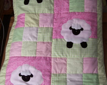 Hand Appliqued Lamb Patchwork Baby Girl Quilt