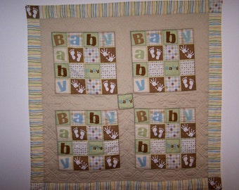 Tan and Mint Green Baby Quilt (SALE)