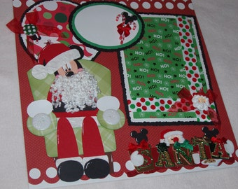 Christmas Disney Mickey Mouse Santa Girl Boy 12x12 Premade Scrapbook Page by KARI
